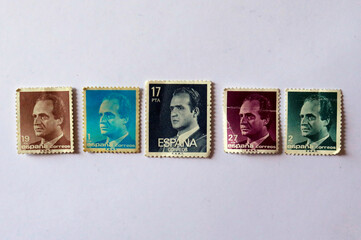 Postage stamps featuring the Spain's former King Juan Carlos I are seen in this illustration picture