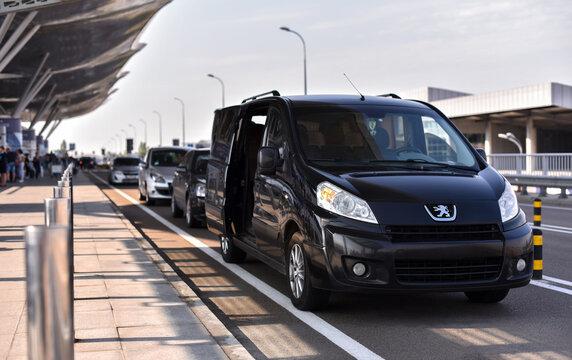 Boryspil / Ukraine - 07.22.19: MPV car shuttle in airport Peugeot Expert Tepee