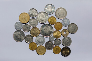 Spanish pesetas coins with the face of Spain's former King Juan Carlos I are seen in this illustration picture