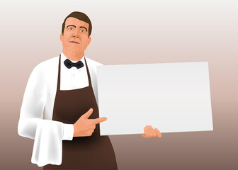 Dans un style graphique de bande dessinée, un serveur de restaurant vu de face, présente une pancarte blanche pour écrire un message publicitaire.