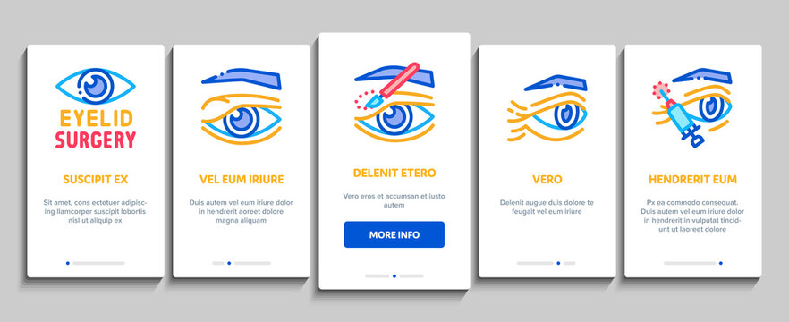 Eyelid Surgery Healthy Onboarding Mobile App Page Screen Vector. Eyelid Surgery Blepharoplasty Cosmetic Correction, Injection And Smoothing Wrinkles Illustrations