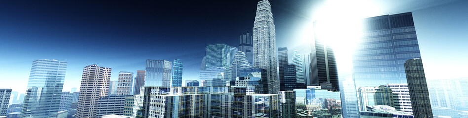 City at sunrise, skyscrapers in the rays of the sun, 3D rendering Fotomurales