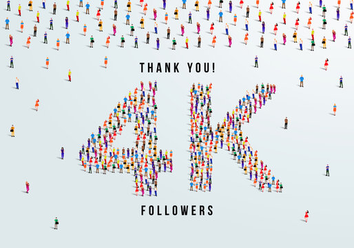 Thank you, 4k or four thousand followers celebration design. Large group of people form to create a shape 4k. Vector illustration.