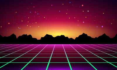 3D illustration. Futuristic perspective grid against cosmic starry sky