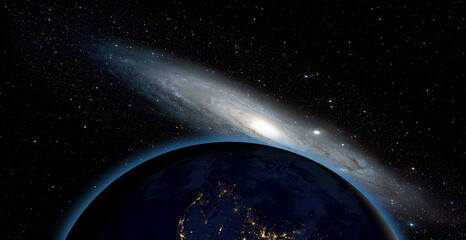 Wall Mural - View of the planet Earth from space with The Andromeda Galaxy ( Messier 31)
