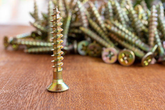 isolated screw and pile of screws in the background