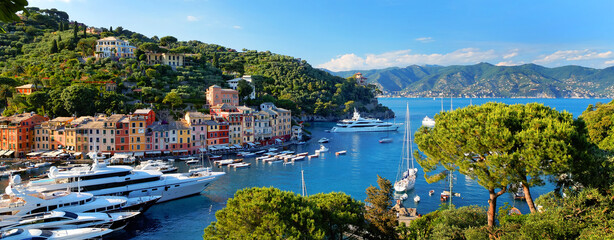 Beautiful Portofino cityscape, best touristic Mediterranean place with typical colorful buildings and famous luxury harbor, Portofino, Liguria, Cinque Terre, Italy, Europe