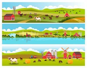 Rural landscape collection with green hills, cows, fields, tractor, barn, livestock, mill, haystack. Farm rural view with village houses, grazing animals, clouds, water tower, river. Country landscape
