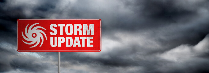 Storm update banner with storm clouds background. Hurricane season.