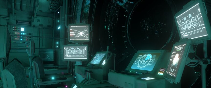 Brightly glowing screens of the spacecraft control system. Spaceship command post. Futuristic wallpaper. 3D illustration.