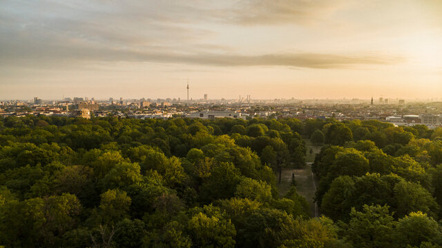 Scenic sunset view Volkspark Friedrichshain park and Berlin cityscape, Germany