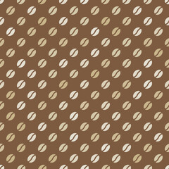 coffee beans seamless pattern on a brown background