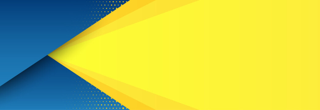 Abstract background with modern futuristic graphic. Yellow background with stripes. Dotted texture poster design, yellow and blue banner. Geometric pattern template with yellow solar effect. Vector