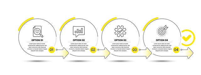 Infographic timeline with icons and 4 steps. Options process with numbers. Infographics business concept. Workflow plan, presentation timeline, arrow path. Business journey process. Vector
