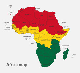 Map of the Africa in the colors of the flag with administrative divisions vector
