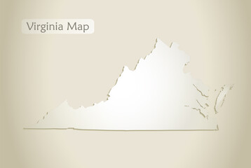 Virginia map, old paper background vector