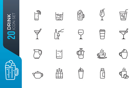 minimal drink icon set
