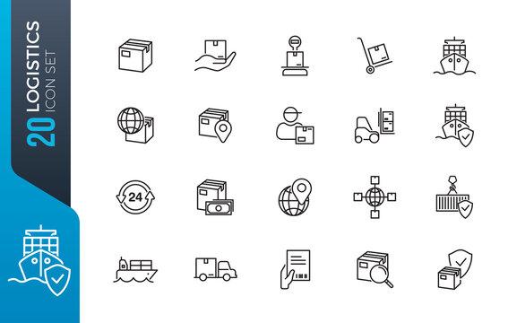 minimal logistics icon set