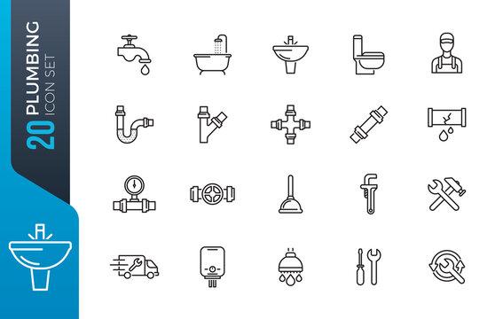 minimal plumbing icon set