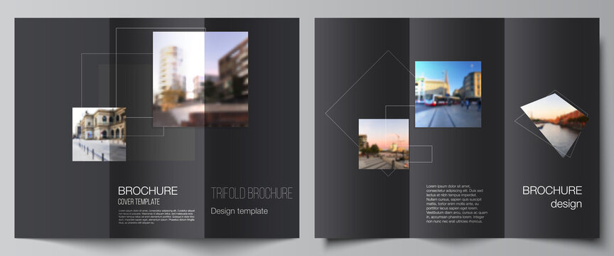 Vector layouts of covers design templates with geometric simple shapes, lines and photo place for trifold brochure, flyer layout, magazine, book design, brochure cover, advertising mockups.