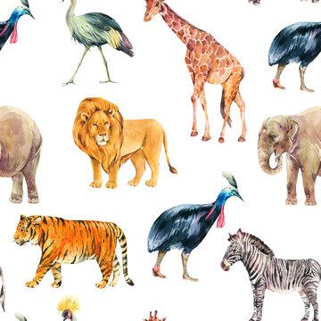 Watercolor jungle, safari animals summer seamless pattern
