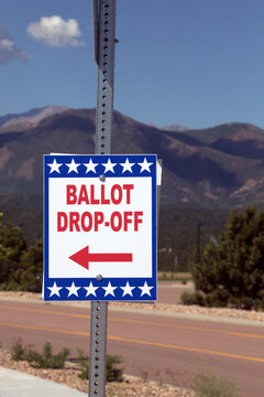 Ballot Box for Primary Election - All Mail-In Voting - Pikes Peak in the Background