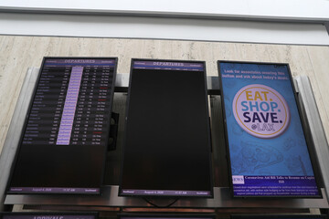 A partially empty Southwest Airlines departures board is seen at LAX airport, as the global outbreak of the coronavirus disease (COVID-19) continues, in Los Angeles