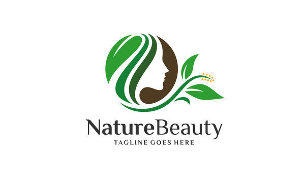 Nature Beauty Logo - Woman Head Green Leaf Vector