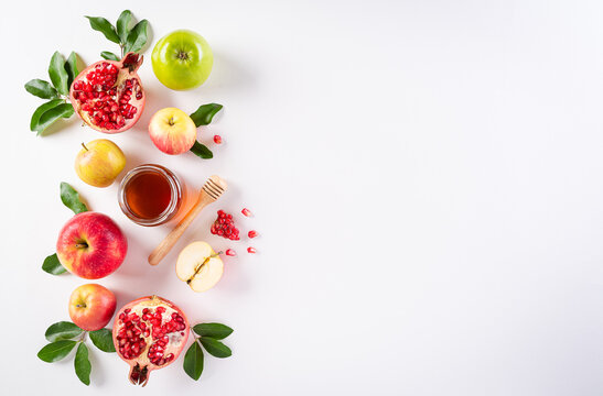 Rosh hashanah (jewish New Year holiday), Concept of traditional or religion symbols on white background.