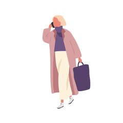 Busy fashion female talking smartphone carry handbag vector flat illustration. Woman in trendy outfit walking outdoor use mobile isolated on white. Girl in warm coat going on street at spring season