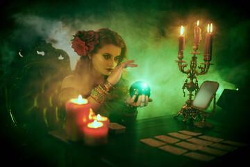 tarot cards and magical ball