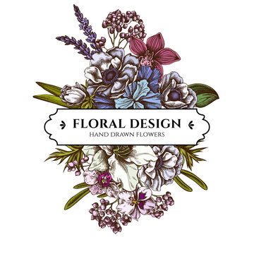 Floral bouquet design with colored anemone, lavender, rosemary everlasting, phalaenopsis, lily, iris