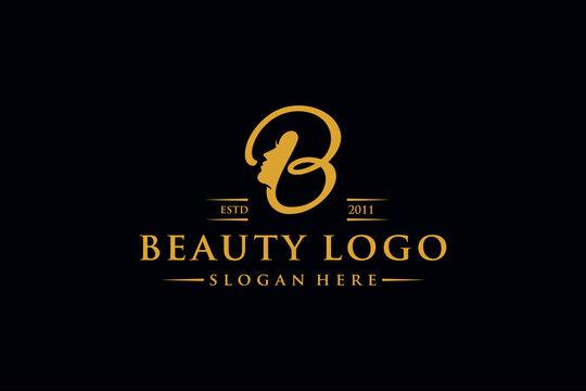 letter b beauty woman logo design vector