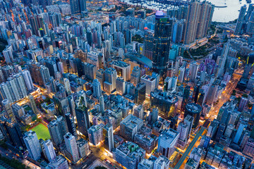 Wall Mural - Top view of Hong Kong city at evening