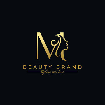 Letter M Beauty Face, Hair Salon Logo Design
