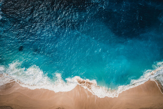 View of the ocean and wild beach from above