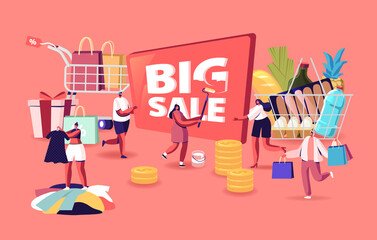 Big Sale. Characters Shopping at Seasonal Discount. Cheerful Shopaholic People with Trolley Full of Purchase and Grocery