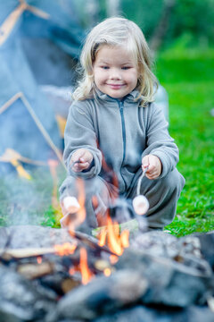 Smiling little girl roasts marshmallows on campfire
