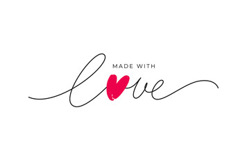 Fototapeta Made with love lettering with heart symbol. Hand drawn black line calligraphy. Ink vector inscription isolated on white background. Lettering for your handcrafted goods, product, shop, tags, labels obraz