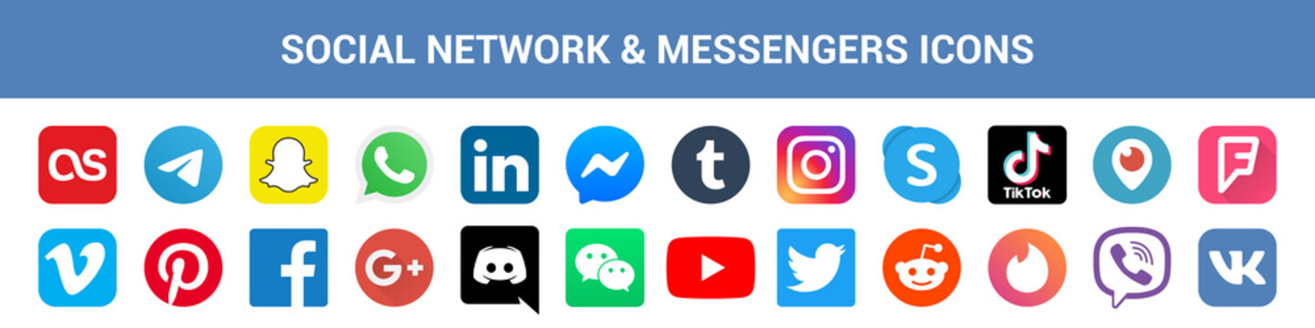 Big collection of social network and messenger icons