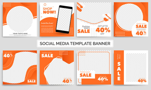 Set of Editable minimal square banner template. Orange and White background color with shape. Suitable for social media post and web ads. Modern promotion square banner. Eps 10