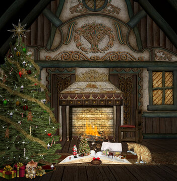 Magic christmas room with an open book telling Santa Claus story