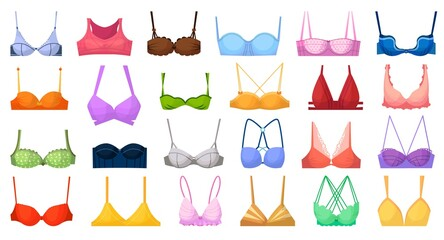 Fashion bra. Bustier different type illustration. Vector woman fabric lingerie. Fashion textile bra icon set isolated on white background. Female underwear clothing collection. Casual feminine garment