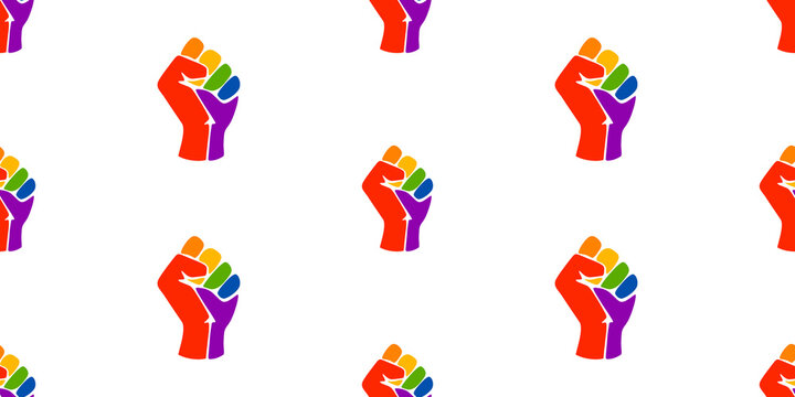 Symbol of the LGBT community, a rainbow fists. Symbols of the movement for freedom of black people. Black lives matter. Vector pattern with colorful fists.