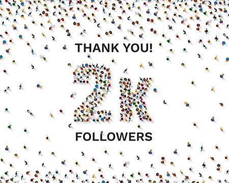 Thank you followers peoples, 2k online social group, happy banner celebrate, Vector