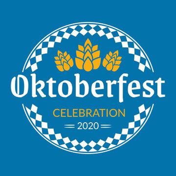 Oktoberfest logo, badge or label set. Beer festival poster or banner design elements. German fest signs. Stamp or seal collection with hops. Vector illustration.