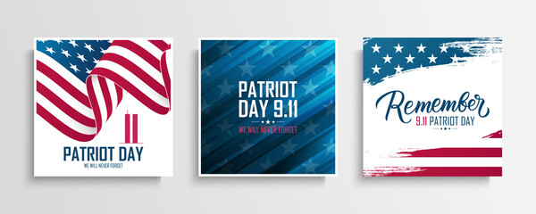 USA Patriot Day cards set. We will never forget. United States National Day of Prayer and Remembrance for the Victims of the Terrorist Attacks on September 11. Vector illustration.