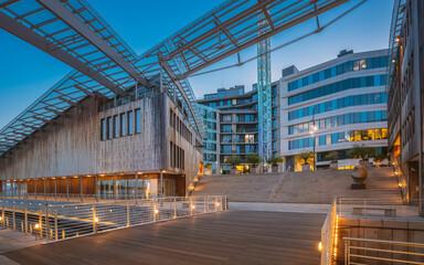 Oslo, Norway. Museum of Modern Art, Residential Multi-storey Houses In Aker Brygge District In...