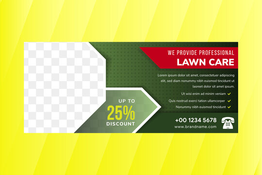 lawn care and gardening service green color square brochure template design with horizontal layout. transparency dot pattern. space for photo collage with white border.