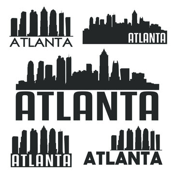 Atlanta Georgia USA Flat Icon Skyline Silhouette Design City Vector Art Famous Buildings Set.